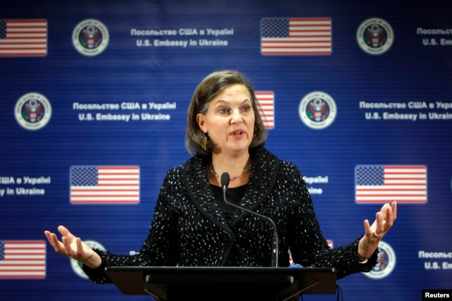 U.S. Assistant Secretary of State Victoria Nuland addresses a news conference at the U.S. Embassy in Kyiv, Feb. 7, 2014.