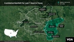 Map of flooded areas of Houston, Texas after passage of Hurricane Harvey