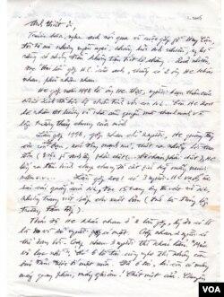 """Lá thư của nhà văn Võ Phiến gửi tác giả Nguyễn Tường Thiết sau khi đọc bài """"Hai Lần Gặp Huy Cận"""" (đầu năm 2005). (Hình: Tác giả cung cấp)"""