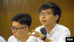 香港眾志秘書長黃之鋒 (美國之音特約記者 湯惠芸拍攝 )