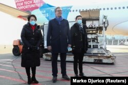 Serbian President Aleksandar Vucic is seen upon the arrival of one million doses of Sinopharm's China National Biotec Group (CNBG) vaccines for the coronavirus disease (COVID-19) on January 16, 2021. REUTERS/Marko Djurica