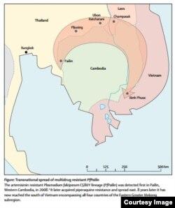 Sơ đồ đường lan truyền của ký sinh trùng kháng thuốc chống sốt rét từ Campuchia tới Việt Nam trong 8 năm qua.