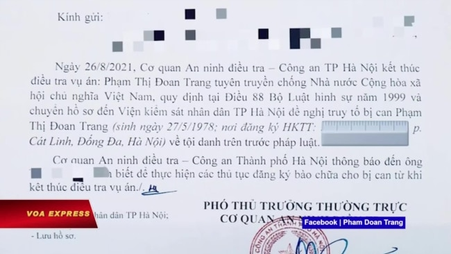 Việt Nam kết thúc điều tra vụ án Phạm Đoan Trang