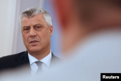 FILE - Kosovo's President Hashim Thaci speaks during an interview with Reuters in his office in Pristina, Kosovo, Feb. 13, 2018.