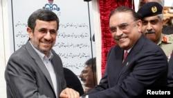 پاکستان اور ایران کے صدور گیس پائپ لائن کی افتتاحی تقریب میں