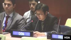 中国代表在发言(视频截图)