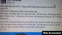 "Screenshot of a post titled ""What is the real nature of Dong Nai traffic police?"" on a Facebook profile named Canh Dong Ngo, in which a man points out several non-transparent activities of the traffic cops in Dong Nai Province. The man claims he is talking ""on behalf of all Dong Nai traffic police officers who were either dismissed or transferred to different positions"" to voice ""the true essence"" of the provincial traffic police unit."