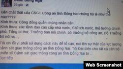 Một số chi tiết trong bài viết của một Facebooker lấy tên 'Cánh Đồng Ngô' và tự nhận là đại diện cho tất cả cán bộ chiến sỹ cảnh sát giao thông tỉnh Đồng Nai 'bị chuyển đổi công tác, bị tước bỏ chức vụ…không có lý do'.