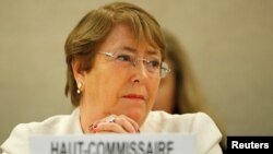 United Nations High Commissioner for Human Rights Michelle Bachelet attends the Human Rights Council at the United Nations in Geneva, Sept. 10, 2018.