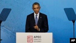 President Barack Obama speaks at the APEC CEO Summit in Beijing, Nov. 10, 2014.