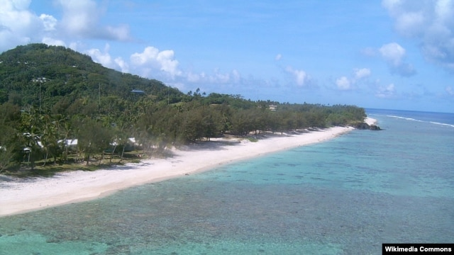 The island Rarotonga of the Cook Islands.