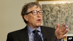 Bill Gates talks to reporters about the 2016 annual letter from the Bill and Melinda Gates Foundation in New York, Feb. 22, 2016.
