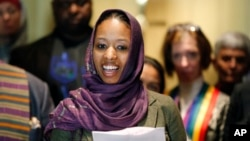 FILE - Wheaton College associate professor Larycia Hawkins is seen talking to reporters during a news conference Dec. 16, 2015, in Chicago.