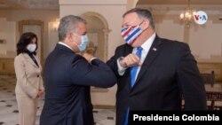 El secretario de Estado Mike Pompeo se reunió con el presidente Iván Duque, el sábado 19 de noviembre. [Foto: Presidencia Colombia]