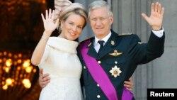 2013年7月21日比利时国王菲利普和马蒂尔德皇后布鲁塞尔庆祝国庆