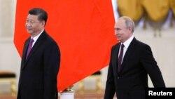 俄羅斯總統普京2019年6月5日在莫斯科克里姆林宮會見到訪的中國國家主席習近平。