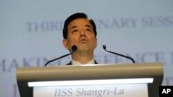 아시아안보회의에서 연설하는 한민구 한국 국방부 장관