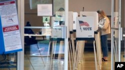 Para pemilih Partai Demokrat memberikan suara di Bonita Springs, Florida, Selasa (17/3).