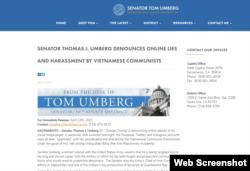 Senator Thomas Umberg denounces online lies and harassment by Vietnam Communists.