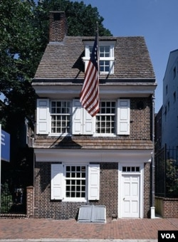 Betsy Ross is believed to have created the American flag in some upstairs rooms she rented in this Philadelphia house. (Carol M. Highsmith)