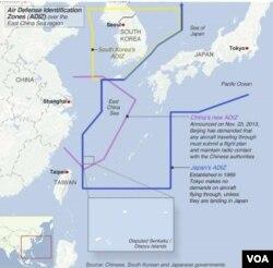 Bản đồ vùng nhận dạng phòng không ADIZ của Trung Quốc, Hàn Quốc, và Nhật Bản