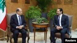 Serokê Lubnanê Michel Aoun û Serokwezîr Saad al-Hariri.