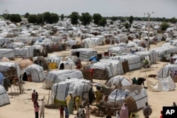 A general view of one of the biggest camp for people displaced by Islamist Extremist in Maiduguri, Nigeria, Aug. 28, 2016.