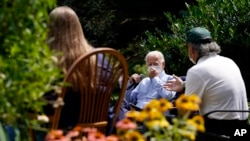 Democratic presidential candidate former Vice President Joe Biden speaks during an event with local union members in the backyard of a home in Lancaster, Pa., Monday, Sept. 7, 2020. (AP Photo/Carolyn Kaster)