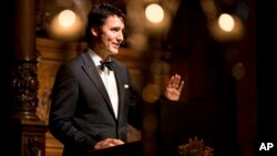 FILE - Canadian Prime Minister Justin Trudeau speaks in Hamburg, Germany, Feb. 17, 2017. Trudeau and Ivanka Trump attended a Broadway musical about how Canada helped thousands stranded after the September 11 attacks.