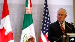 Ngoại trưởng Mỹ Rex Tillerson tham gia một cuộc họp báo chung ở Thành phố Mexico, Mexico, ngày 2 tháng 2, 2018.