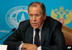 Russian Foreign Minister Sergey Lavrov answers a question during a press conference, May 7, 2019.