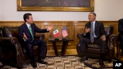 President Barack Obama meets with Mexican President Enrique Peña Nieto, state government palace, Toluca, Mexico, Feb. 19, 2014.