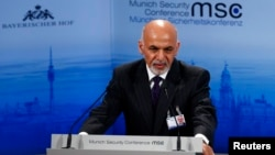 Afghan President Ashraf Ghani addresses the 51st Munich Security Conference at the Bayerischer Hof hotel in Munich, Feb. 8, 2015.