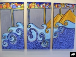 The tsunami painting by Mona El-Bayoumi is called 'Step Over and Join Us,' June 2011