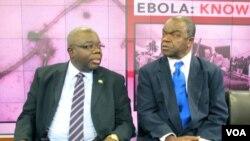H.E. Bockari Stevens, Dubes Sierra Leone untuk AS dan Malonga Miatudila, pakar Ebola dalam diskusi terkait wabah Ebola di Washington DC (19/11).