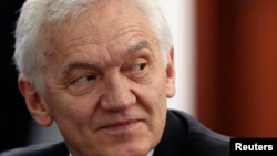 FILE - Businessman Gennady Timchenko, a target of U.S. economic sanctions, attends a session of the St. Petersburg International Economic Forum 2014 in St. Petersburg, Russia, May 24, 2014.