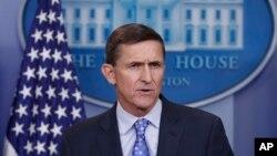 마이클 플린 미국 백악관 국가안보보좌관이 1일 백악관 정례브리핑에서 발언하고 있다.