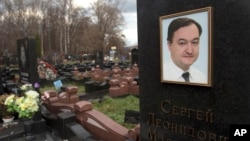 A tombstone on the grave of lawyer Sergei Magnitsky, who died in jail, at a cemetery in Moscow, November 2012.