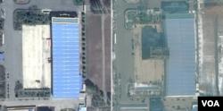 '3월16일 공장'을 지난해 4월 촬영한 '구글어스/DigitalGlobe' 제공 위성사진(왼쪽)과 지난해 11월 21일 촬영한 'TerraServer/DigitalGlobe' 제공 위성사진. ICBM 조립건물로 추정되는 시설이 새로 세워진 것을 알 수 있다.