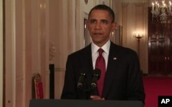 صدر اوباما وائٹ ہاؤس میں بن لادن کی ہلاکت کا اعلان کرتے ہوئے