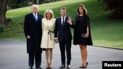 Tổng thống Donald Trump và đệ nhất phu nhân Melania Trump chụp hình với Tổng thống Pháp Emmanuel Macron và phu nhân Brigitte Macron tại Tòa Bạch Ốc, Washington, ngày 23/4/2018.