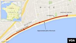 14일 프랑스 니스에서 발생한 차량 테러 사건 당시 범인이 트럭으로 행인들을 치면서 이동한 거리.