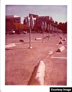 A Polaroid of parking meters by fine art photographer Jessica Reinhardt. (Courtesy Jessica Reinhardt)