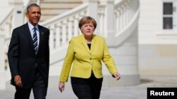 Thủ tướng Đức đón tiếp Tổng thống Obama đến Hanover, ngày 24/4/2016.