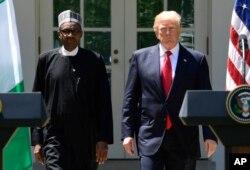 Prezida Muhammad Buhari wa Nijeriya na prezida w'Amerika Donald Trump