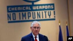 Ngoại trưởng Rex Tillerson đọc diễn văn tại Hội nghị các Bộ trưởng Ngoại giao về Đối tác Quốc tế chống việc sử dụng Vũ khí hóa học mà Không bị trừng phạt tại Paris, ngày 23/1/2018.