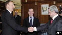 Ильхам Алиев, Дмитрий Медведев и Серж Саргсян