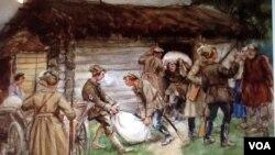 苏联画家弗拉基米罗夫的绘画反映了布尔什维克武装人员十月革命后在农村征集余粮。弗拉基米罗夫十月革命后曾在圣彼得堡当过警察。