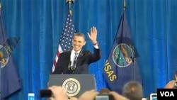 """El presidente Barack Obama dijo en Kansas que """"este es un momento crítico para el país""""."""