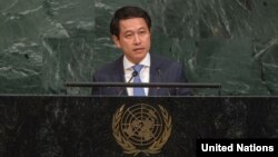 살름싸이 꼼마싯 라오스 외교장관이 지난해 9월 뉴욕 유엔본부에서 열린 유엔총회에서 연설하고 있다.
